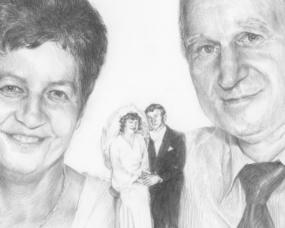 Rysunek ołówkiem ze zdjęcia na rocznicę ślubu
