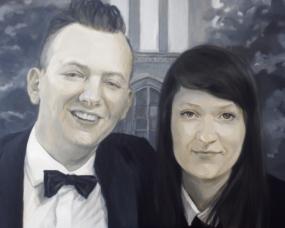Portret pary na tle kościoła na prezent