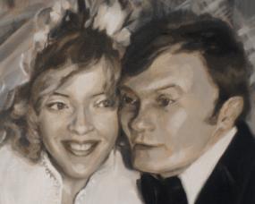 Portret na rocznicę ślubu ze starego zdjęcia